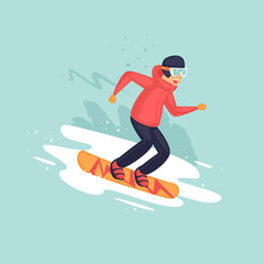 Young man riding a snowboard on snow, winter. Flat vector illustration in cartoon style.