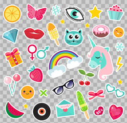 Fashion set of patches 80s comic style. Pins, badges and stickers Collection cartoon pop art with a unicorn, rainbow, lips, emoji. Vector illustration