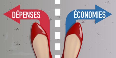 dépenses - économies - femme - choix - chaussure