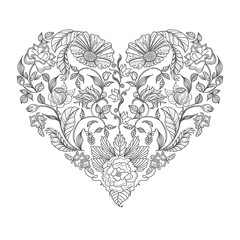 heart floral pattern