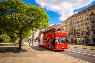 Aluminium Prints London red bus Classic red city sightseeing bus, Dresden, Saxony, Germany