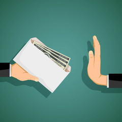 Man giving a bribe in an envelope. Stock vector.
