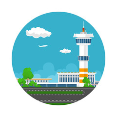 Icon Airport Terminal, Runway at the Airport with Control Tower ,Travel and Tourism Concept ,Vector Illustration