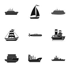 Ship icons set, simple style