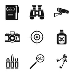 Spy icons set, simple style