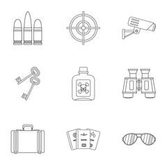 Detective icons set, outline style
