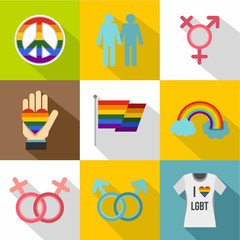 Gays and lesbians icons set, flat style