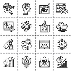 ne icons for startup business in blue tone style. Modern outline icons for mobile application and web concepts