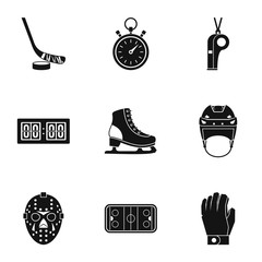 Hockey icons set, simple style