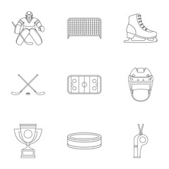 Russian hockey icons set, outline style