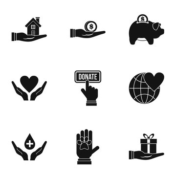 Sponsorship icons set, simple style