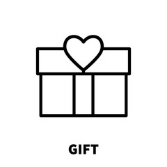 Gift icon or logo in modern line style.