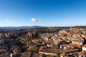 Aerial view of Siena from the Torre del Mangia (Tower of Mangia). Tuscany, Italy