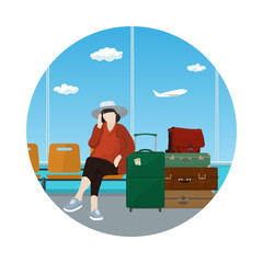Icon a Woman with a Luggage Talking on the Phone in a Waiting Room, Travel and Tourism Concept, Flat Design, Vector Illustration