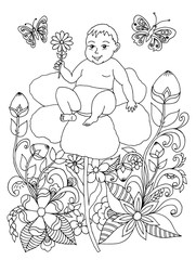 Vector illustration zentangl baby on a poppy in the flowers. Coloring book anti-stress for adults. Black and white.