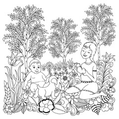 Vector illustration zentangl children outdoors with dogs. Dudling. Coloring book is anti-stress for adults. Black and white.