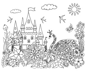Vector illustration zentangl swan near the castle in flowers. Dudling. Coloring book is anti-stress for adults. Black and white.