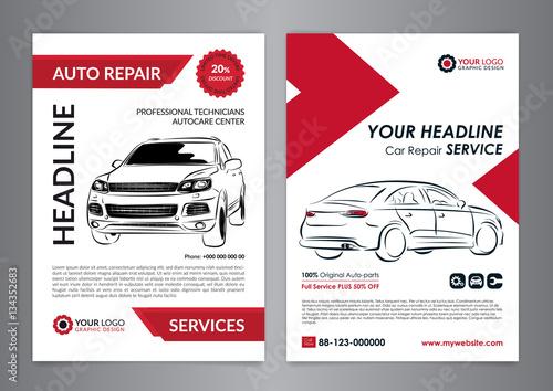 Set auto repair business layout templates, automobile magazine cover ...