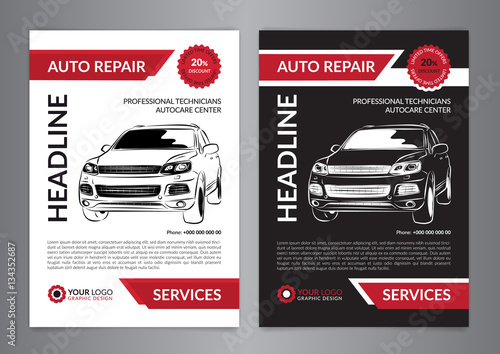 Set Auto Repair Business Layout Templates Automobile Magazine Cover