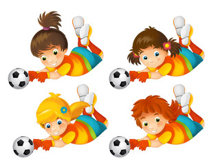 Cartoon girl playing football - sport activity - illustration for children