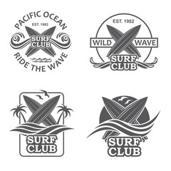 collection of of surfing emblems with sea wave