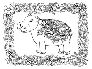 Vector illustration zentangl hippo in a flower box. Dudling. Book coloring, anti stress for adults. Black and white.