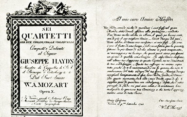 "Title page of Mozart's String quartet ""op. 10"" and dedication to Joseph Haydn"
