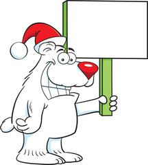 Cartoon illustration of a polar bear wearing a Santa hat and holding a sign.