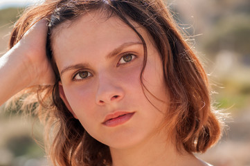 Close up portrait of teen brunette