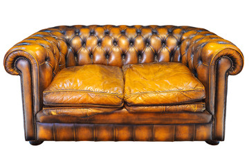 Vintage brown leather Chesterfield sofa isolated on white