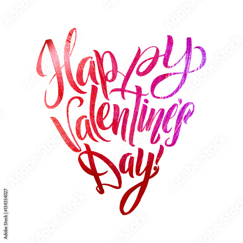 Happy Valentines Day Lettering Pink Foil Heart Shape White