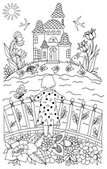 Vector illustration zentangl girl on a bridge looking at the castle across the river. Coloring book anti stress for adults.Black and white.