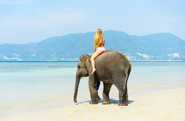 Woman on the elephant on the beach. Tropical vacation.