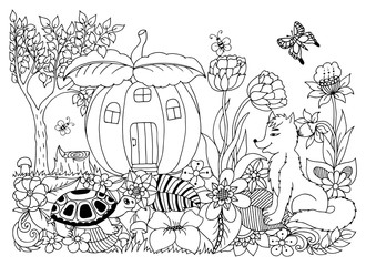 Vector illustration zentangl, fox turtle in pumpkin house in flowers. Coloring book anti stress for adults.Black and white.