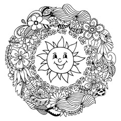 Vector illustration merry sun in frame from flowers. Work Made by hand. Book Coloring anti-stress for adults and children. Black and white.