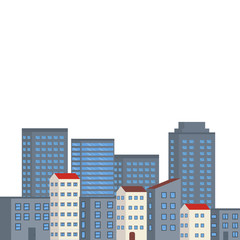 Background with city buildings.