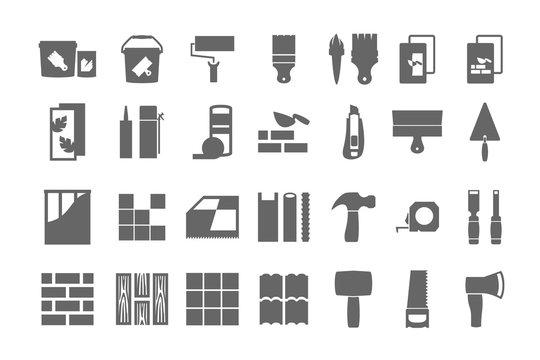 construction materials, repair icons. vector set.