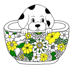 Vector illustration puppy which climbed into into the cup. Work Made by hand. Book Coloring anti-stress for adults and children.