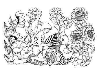 Vector illustration girl gives Duckling grain on nature in colors. Work Made by hand. Book Coloring anti-stress for adults and children. Black and white.