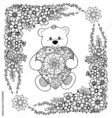 Vector illustration of a teddy bear holds heart from flowers in the ...