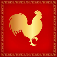 Vector illustration. Golden silhouette of a rooster standing on one leg. Red background with decorative geometric border. Square format.