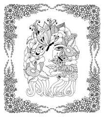 Vector illustration portrait of a girl with butterflies in the frame from flowers. Work Made by hand. Book Coloring anti-stress for adults and children. Black and white.