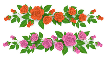 Pink and orange rose border decoration with green leaf. Realistic flower illustration, isolated on white.