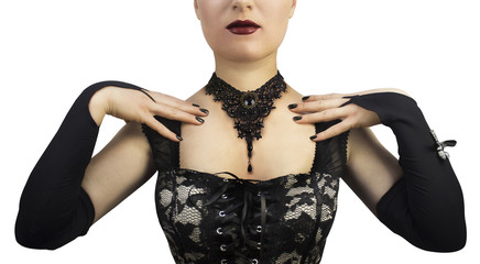 Black gothic braided necklace on mannequin photo.