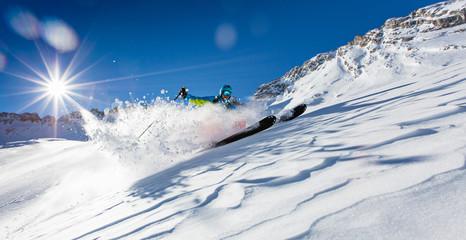 Freeride in fresh powder snow.