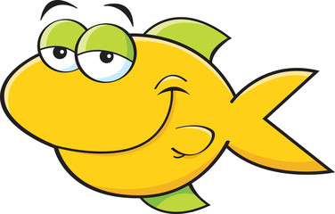 Cartoon illustration of a smiling fish.