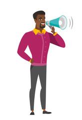 African businessman talking into loudspeaker.