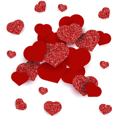 Greeting card with hearts for Happy Valentine's Day. Red glitter effect.