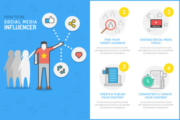 Flat Line Infographic about How To Be Social Media Influencer an