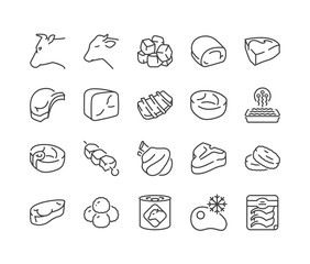 cow and veal meats thin line icons